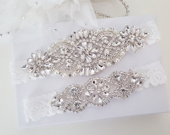 Bridal Garter Crystal Rhinestone Garter and Toss Garter Set Style 795 Wedding Garter