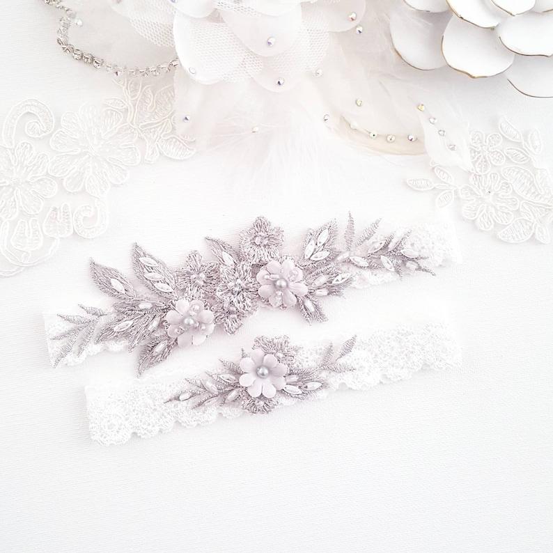 Botanical Lace Bridal Wedding Garter Gray Floral Vintage image 0