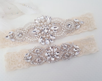 Wedding Garter Set, Bridal Garter set, Lace Garter set, Crystal Bridal Garter, Silver Wedding Garter, Wedding Garter