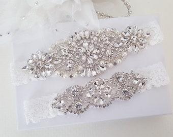 Custom Bridal Garter Set, Vintage Wedding, Crystal Garter Set, Stretch Lace Garter