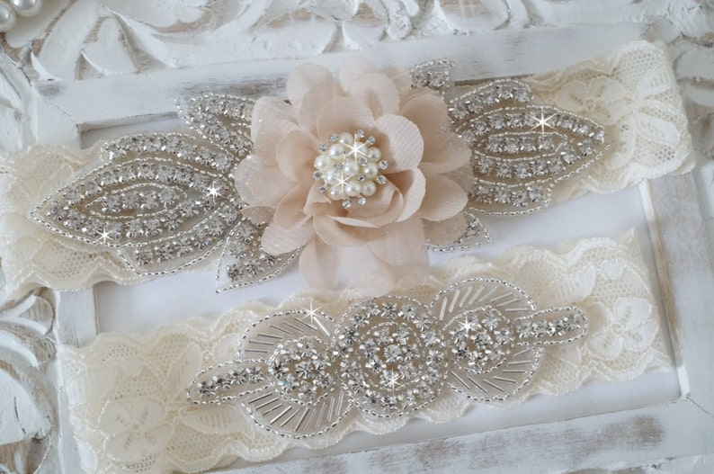 fb32a4b59 Rustic Garter Set Ivory Wedding Garter Set Lace Bridal