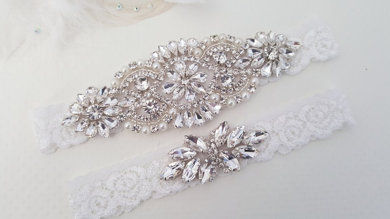 Wedding Garter Bridal Garter Wedding Garter Set Lace Bridal image 0