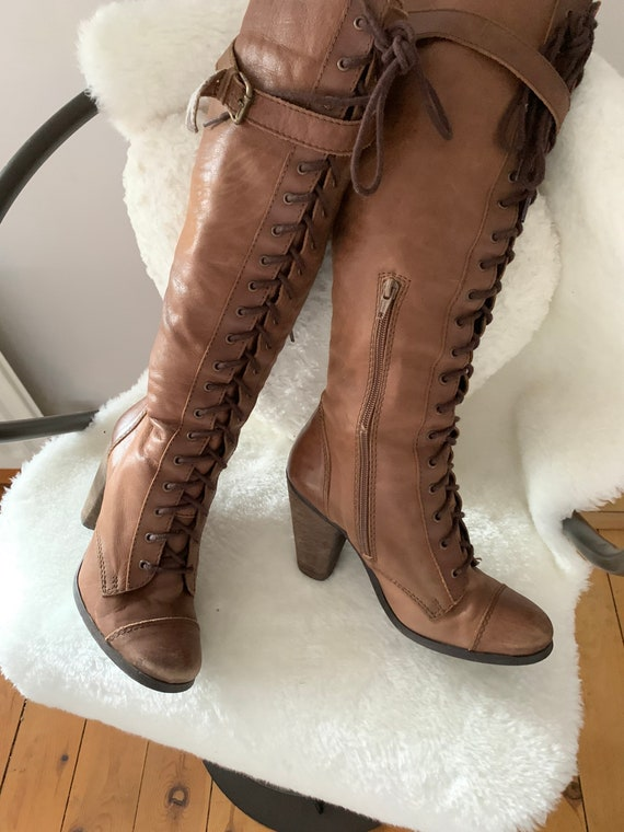 Vintage leather lace up knee boots
