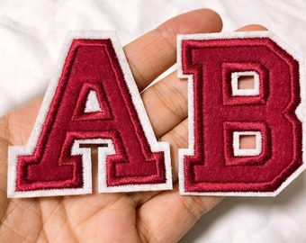 Red Sequin Letter Patch Patches Iron On Sew on Retro Alphabet Embroidery Clothes