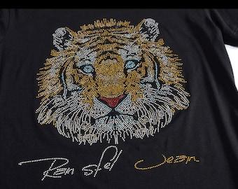 b35a9a9c Tiger head sequins, rhinestone transfer - iron on hotfix, bling shirts -  design motif for shirts, applique, gymnast, heat, hot fix