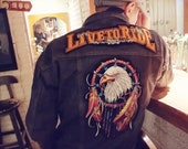 Large eagle vintage iron on embroidered applique patch Vintage patch Clothing decoration