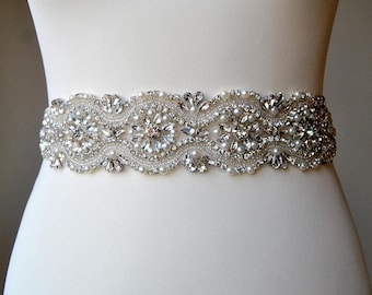 Rhinestone and Pearl Applique, Crystal Beaded Wedding sash Applique