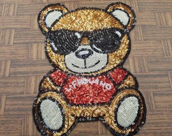 Cool bear sequins patch applique vintage embroidered patch T-shirt or Jeans decoration patch applique