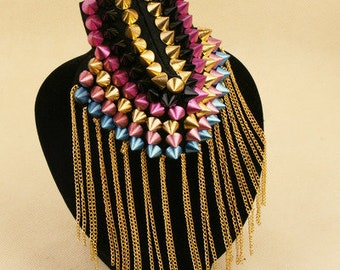 A pair colorful Tassels Epaulets,Gold Stud Epaulets Gold Studs Shoulder Pad,Shoulder Embellishment,Epaulets,Gold Spike Epaulet