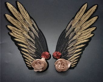 Gold or black wings patch applique embroidered fashion patch