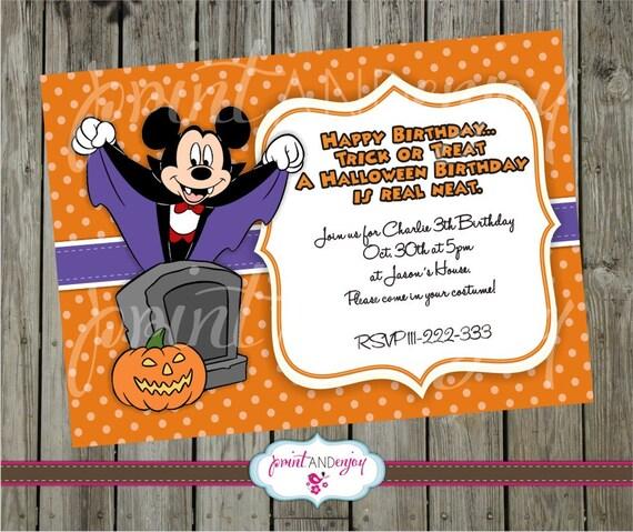 Mickey Mouse Halloween Invitation Diy Printable Mickey Mouse Halloween Card Invitation Party Invitation Halloween