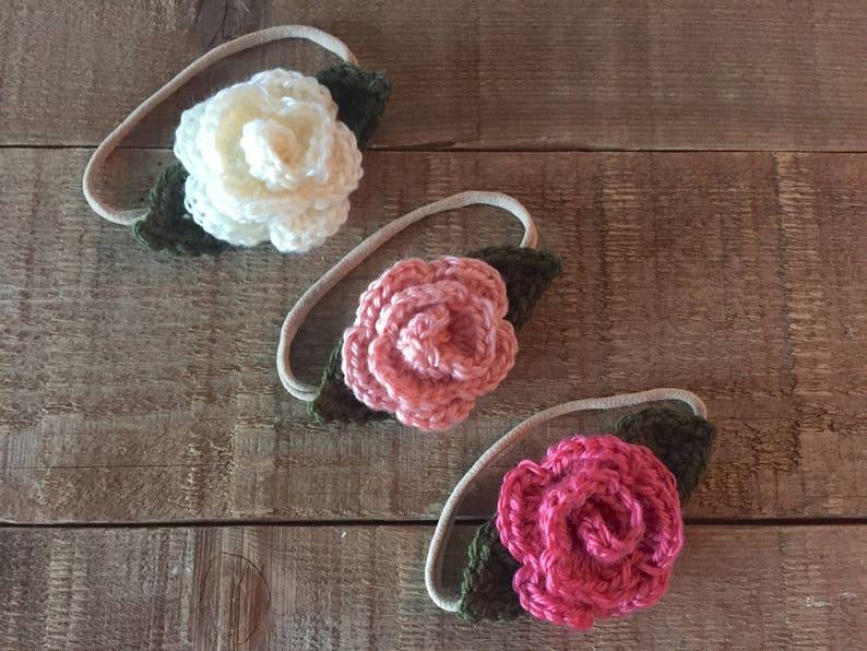 Crocheted Flower Headband Rose Headband Baby Gift Baby Etsy
