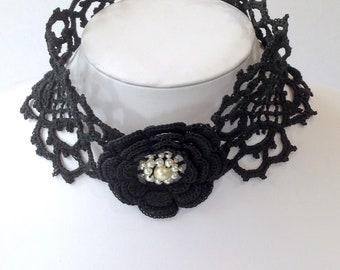 Venetian style crocheted lace  choker.