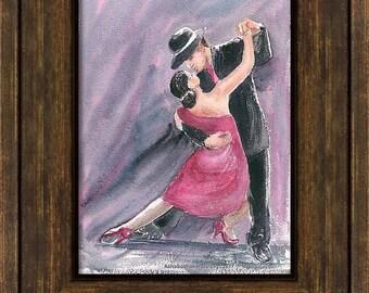 Original Handmade dancer Watercolor Painting Contemporary Impressionist Red Tango Dancers Home Decor Dance Teacher Gift Handmade Gift Art