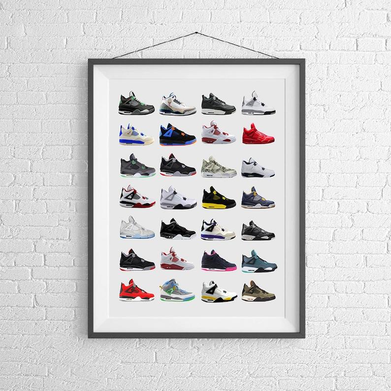 online store 0ac2c 86e72 Zapatillas Nike Air Jordan 4s Nike cartel Poster de   Etsy