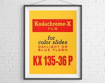 Kodak Kodachrome-X - Vintage Film Box - 35mm Film - Ilford Agfa - Art Print Poster