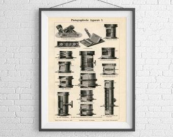 illustration of Vintage Camera Lenses - Historical Brass Petzval lenses - Art print - Poster - Wall Art