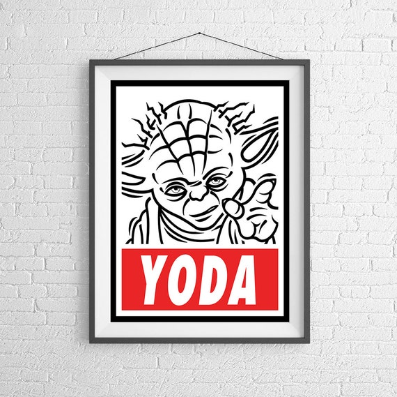 Yoda OBEY Star Wars Art Print Wall Art | Etsy
