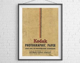 Kodak Photographic Paper - Vintage Film Box - 35mm Film - Ilford Agfa - Art Print Poster