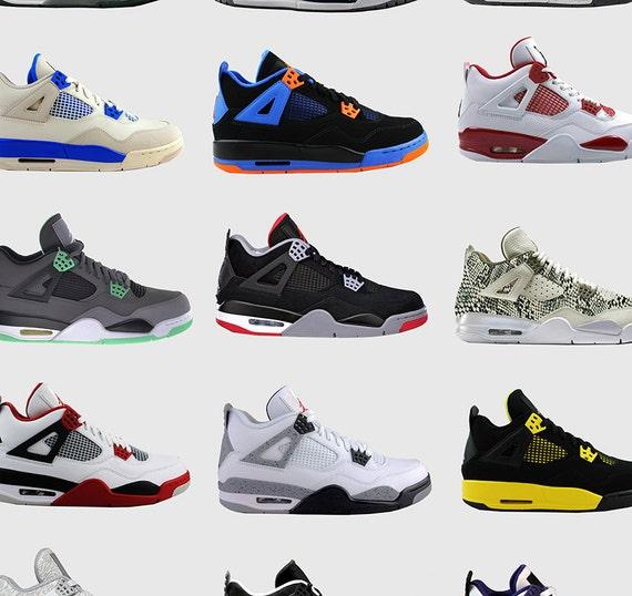 half off 5ad19 90ee7 Nike Air Jordans 4s - Nike Poster - Michael Jordan Poster - Jordan Wall Art  - Shoe Art - Nike Jordan Poster - Nike Sneakers -