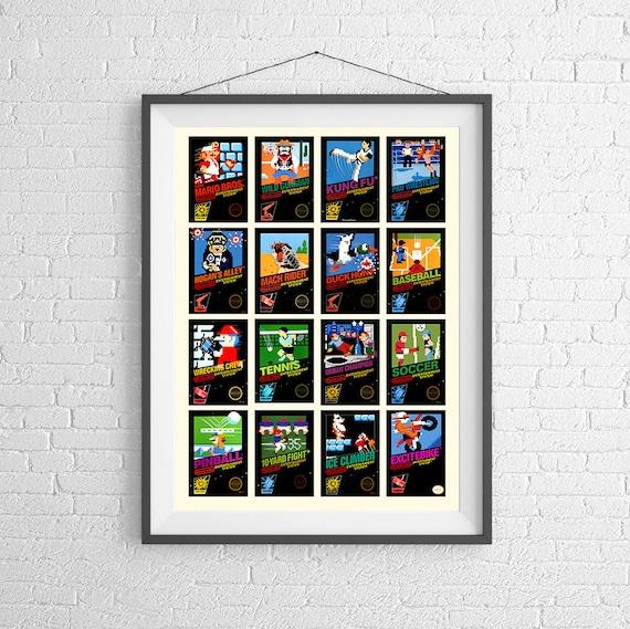 Nintendo 8-Bit Video juego caratula Poster colección de | Etsy