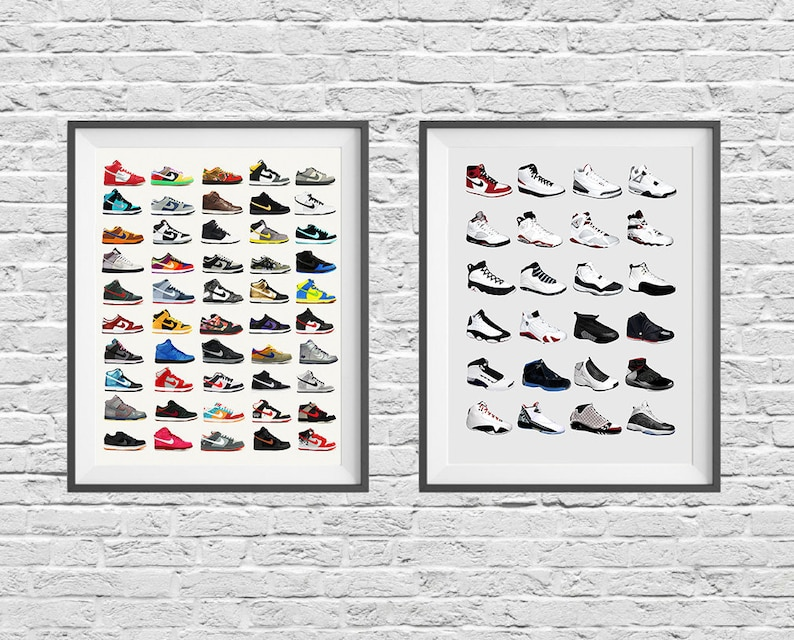 sports shoes 1c480 b22b5 Nike Sneaker Poster Set Nike Shoes Nike Poster Nike   Etsy