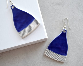 Geometric ceramic earrings, royal blue statement jewellery, handmade contemporary jewelry