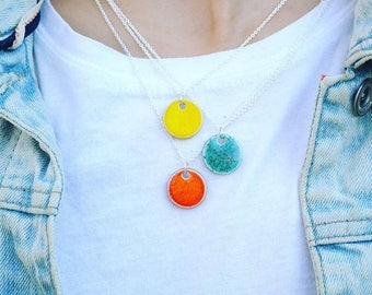 Small pendant necklace, sterling silver chain, colourful ceramic jewellery, teenage girl gift