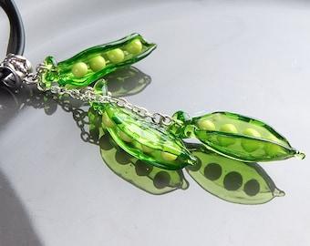 Peas lampwork pendant, peas necklace, fresh green necklace, chartreuse necklace, nature necklace, fruit necklace, designer necklace