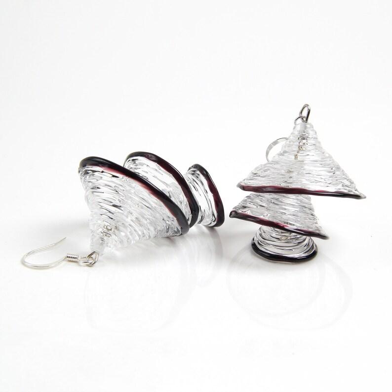 Clear glass earrings dangle Fun unique earrings Aesthetic earrings Clear geometric earrings Bell handmade earrings Clear statement earrings