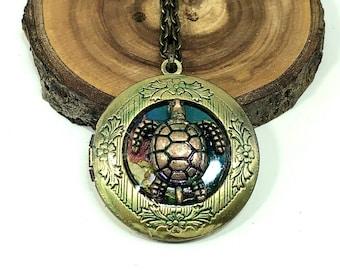 Vacation Photos Turtle Cruise High Quality Tropical Sea Turtle Dark Silver Plated Heart Locket Tortoise Keepsakes