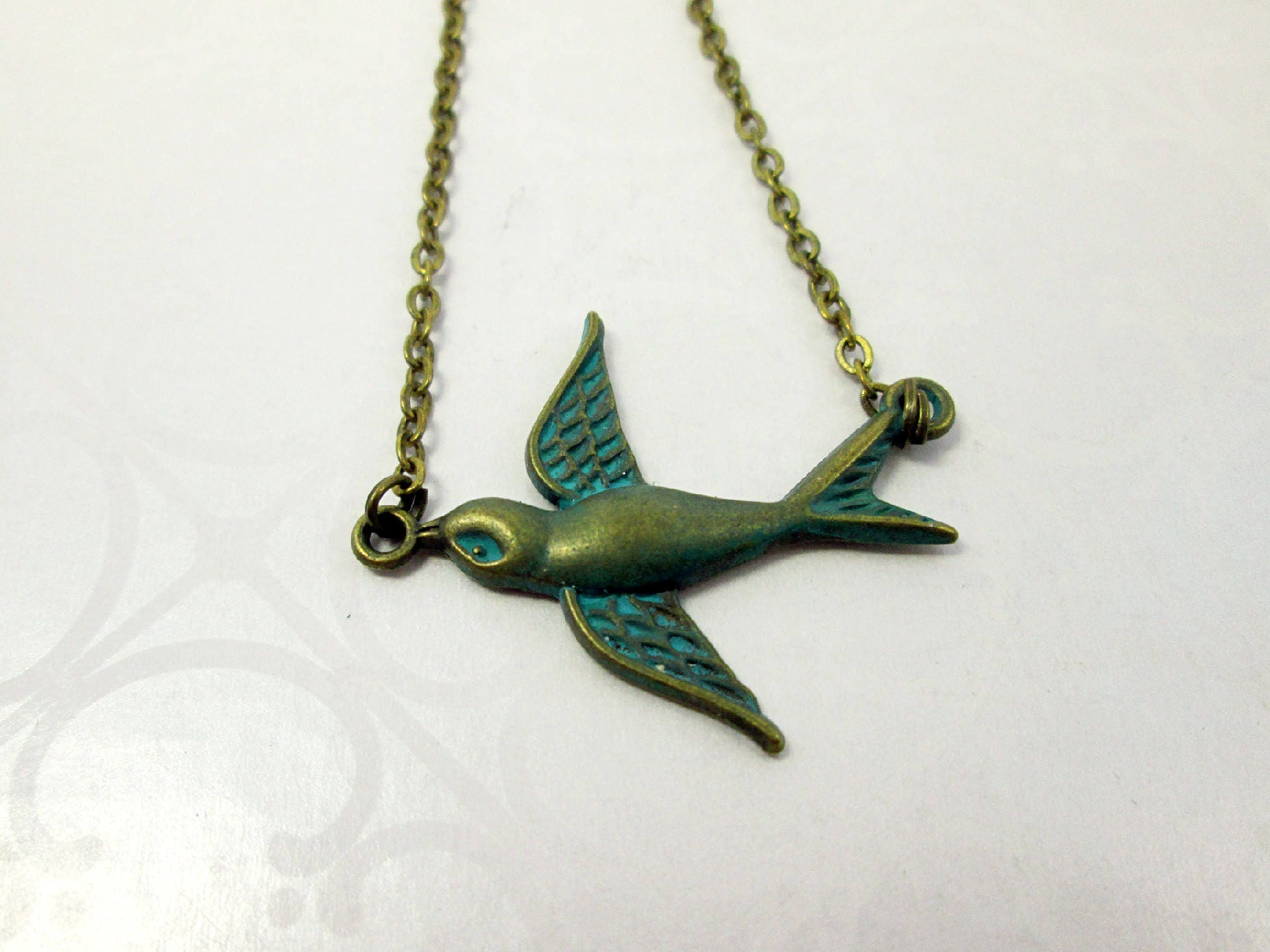 Vintage Style Small Flying Bird Necklace Sparrow Necklace ...