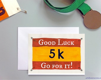 Good Luck 5k run card, 5km card for runner, couch to 5k, C25k, running card