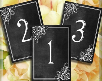 Chalkboard Corner Swirls Printable Table Numbers Signs Instant Download 5 x 7 Tables 1 - 10