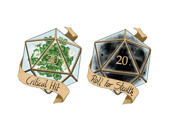D20 Stickers- Critical Hit/Roll for Stealth