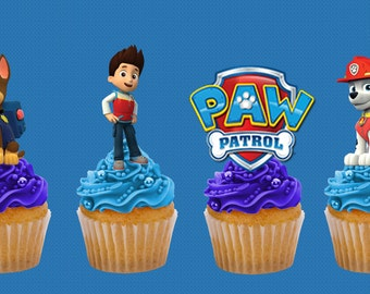 Paw Patrol Logo /& Shields Birthday Cake Edible Rice//Wafer with Cupcake Toppers