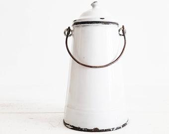 Le lait peut Vintage, le lait peut Decor, émail blanc seau, pot à lait métal, métal pot à lait, Français émail émail blanc, Pot, cruche émail