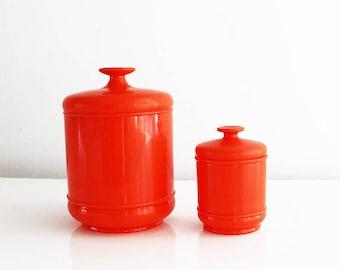 Attirant Orange Canister Set, Orange Canisters Plastic Canister Set, Orange Kitchen  Canisters, Retro Kitchen Canister Sets, 1970s Canister Vintage