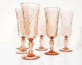 Set of 6 Pink Champagne Flutes Luminarc Rosaline Pink Swirl Glasses France Christmas Champagne Flutes