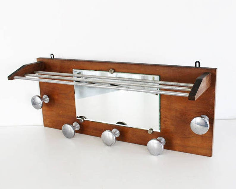 19f6aed3dec 1930s Extra Large Vintage French Wooden Wall Coat Rack with