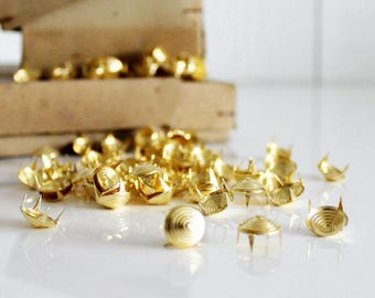 880 Pcs French Vintage Golden Punk Dome Round Rivet Studs 15mm Rivets Studs Spikes New Old Stock