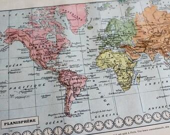1922 WORLDMAP Planisphere Litho Print French Larousse, Mappemonde, Original Print, Antique world map print, Old map of the world, Map Art
