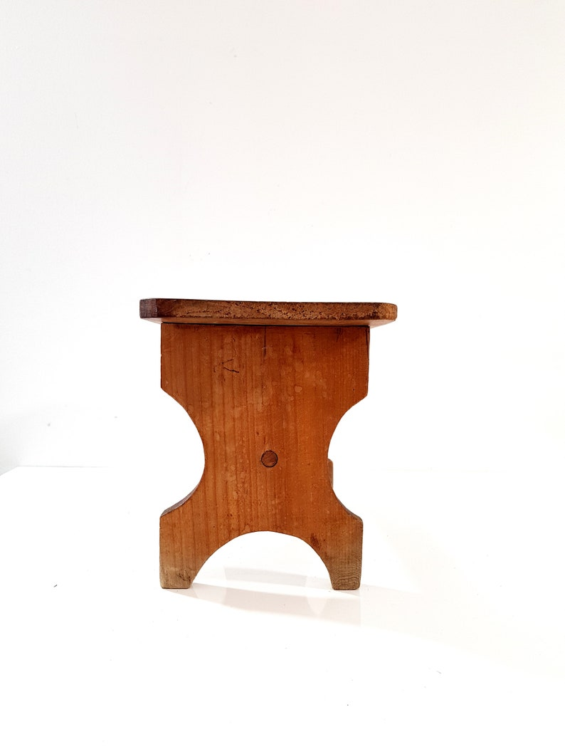 Vintage Small Wooden Stool Rustic French Wood Stool Hardwood Bench,