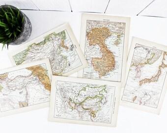 Estampes asiatiques, pays d'Asie carte carte Vintage Print, impression de carte de monde, carte Art, monde carte murale Art, Antique imprime pour salon e-405