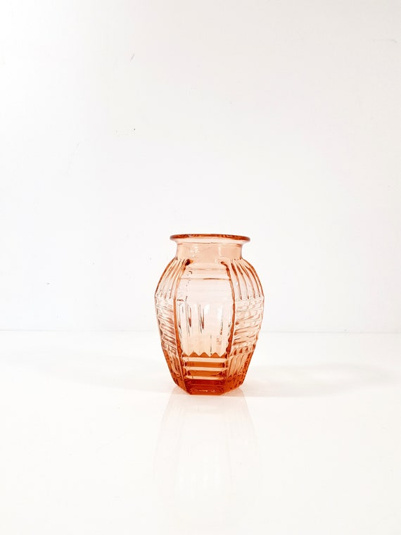 Small Art Deco Pink Glass Vase French, Vintage Pink Depression Glass Vase