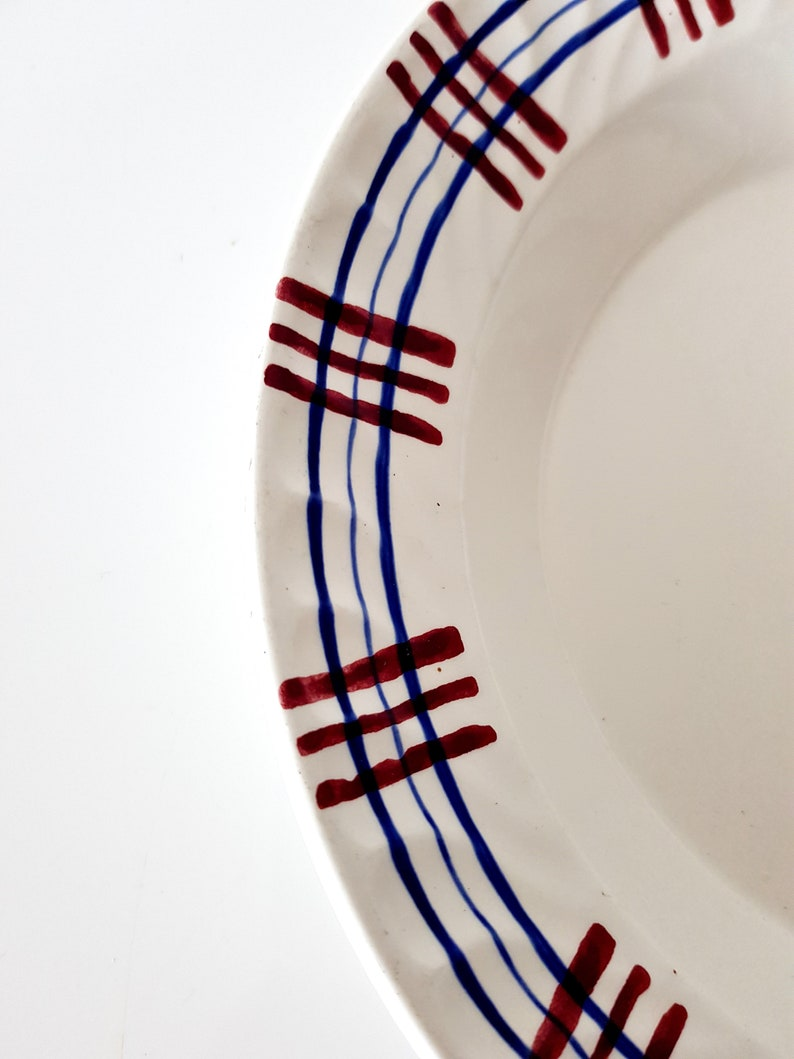 10.2 » Digoin Sarreguemines Serving Bowl, Poitou, Hand Painted, Blue and Red, Large Fruit Serving Bowl Plate, Country Kitchen, Salad Bowl