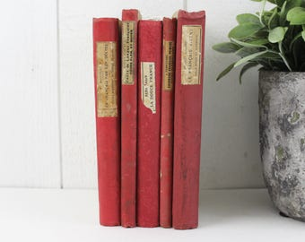 Red Vintage Books by Color, Vintage Books for Decorating, Vintage Books Lot, Antique Book Bundle, Antique Book Lot, Red Books Vintage - E384
