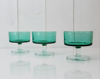 Luminarc verre vert Vintage mi siècle verres, verrerie verte, verre vert bougie porte ensemble, socle porte-bougie, vert bougie - D643
