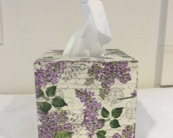 Cute Fancy Tissue Kleenex Box Cover//Holder Purple Flower,