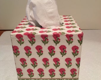 Tissue box cover, french country, pinks and greens